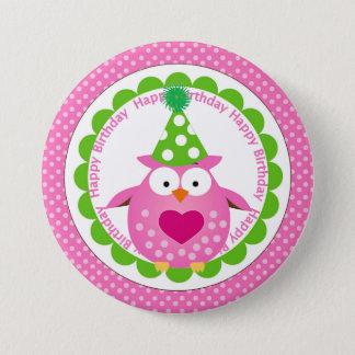 Rosa uggla i partyhattfödelsedag mellanstor knapp rund 7.6 cm
