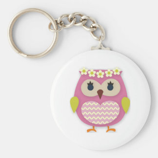 Rosa uggla Keychain Rund Nyckelring