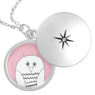 Rosa ugglalocketnecklace. silverpläterat halsband