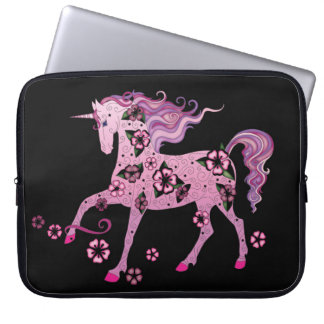 Rosa Unicorn på svart Laptop Fodral