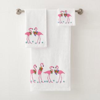 Pink Flamingo Starfish Christmas Bath Towel Set