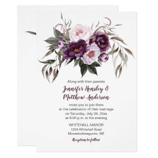 Rosa vattenfärg blom- gifta sig #3 för 12,7 x 17,8 cm inbjudningskort