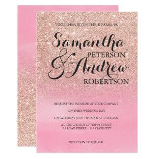 Rosa vattenfärg för rosa guld- glitterombre som 12,7 x 17,8 cm inbjudningskort