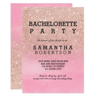 Rosa vattenfärgbachelorette för rosa guld- glitter 12,7 x 17,8 cm inbjudningskort