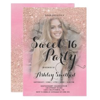 Rosa vattenfärgfoto söta 16 för rosa guld- glitter 12,7 x 17,8 cm inbjudningskort
