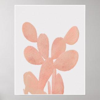 Rosa vattenfärgkaktus poster