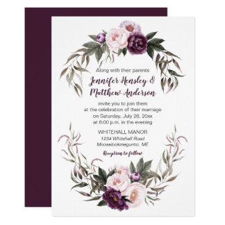 Rosa vattenfärgpioner för purpurfärgad plommon som 12,7 x 17,8 cm inbjudningskort