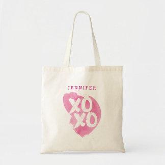 Rosa vattenfärgstänk för XOXO Tygkasse