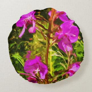 Rosa vildblommaabstrakt för alaskabo Fireweed Rund Kudde