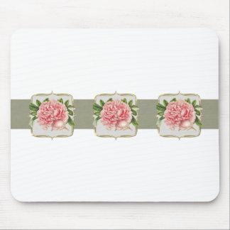 Rosa vintage blommar vitt musmatta