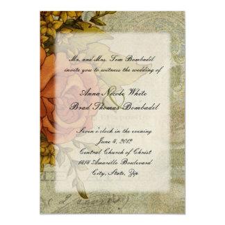 Rosa vintage bröllopinbjudan för fransk 12,7 x 17,8 cm inbjudningskort