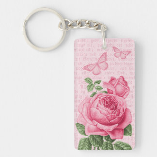 Rosa vintage steg flickaktigt keychain med nyckelring