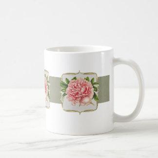 Rosa vintageblommor vit mugg