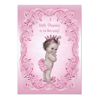 Rosa vintagePrincess baby shower 12,7 X 17,8 Cm Inbjudningskort