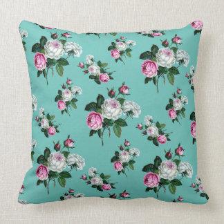 Rosa vit ros för vintageshabby chic på Mintgrönt Kudde