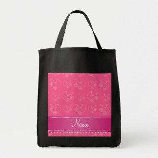 Rosa vitbarnvagnar för personlig mat tygkasse