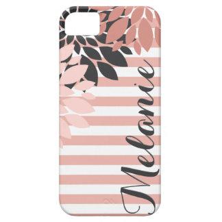 Rosa vitblomma- och randmönster med namn iPhone 5 fodral