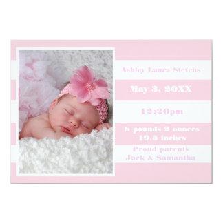 Rosa- & vitrand - födelsemeddelande 12,7 x 17,8 cm inbjudningskort