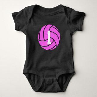 Rosa volleyboll Jersey numrerar babybodysuiten T-shirt