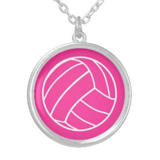 Rosa volleybollhalsband silverpläterat halsband