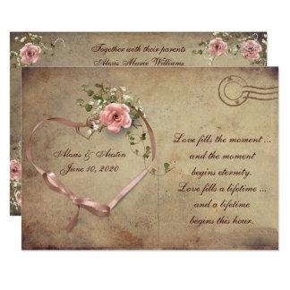 Rosa vykort för vintage bröllop 12,7 x 17,8 cm inbjudningskort