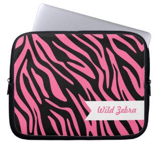 Rosa zebra ränderlaptop sleeve datorskydds fodral