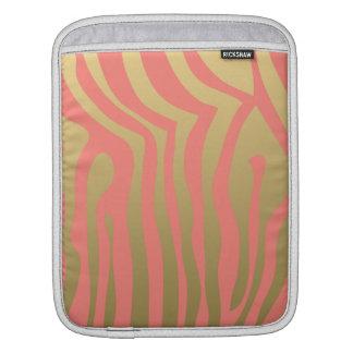 Rosa zebra rändermönster för guld och för korall sleeve för iPads