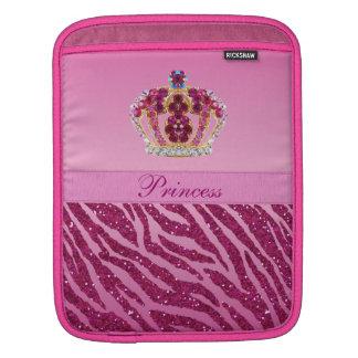Rosa zebra tryck för Princess Kröna Sleeves För iPads