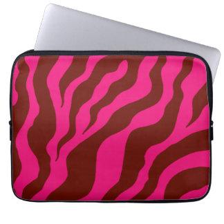 Rosa zebra trycklaptop sleeve datorfodral