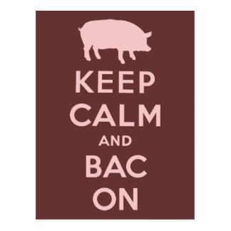 Rosabehållalugn och bacon vykort