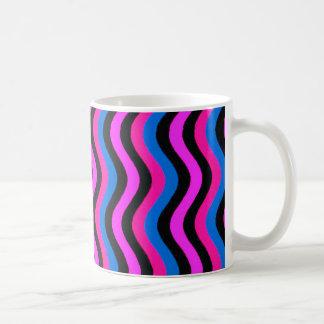 Rosablått och svart Squiggly konst Kaffemugg