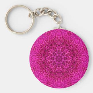 Rosablommamönster Keychains, 3 stilar Rund Nyckelring
