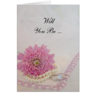 Rosablomman, snöreringar ska dig är min brudtärna hälsningskort