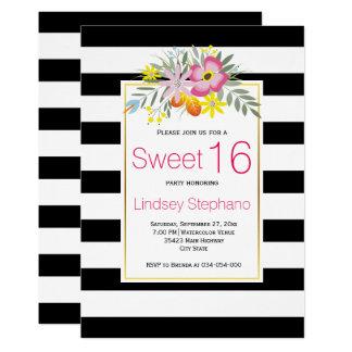 Rosablommor, randsweet sixteenfödelsedag 12,7 x 17,8 cm inbjudningskort
