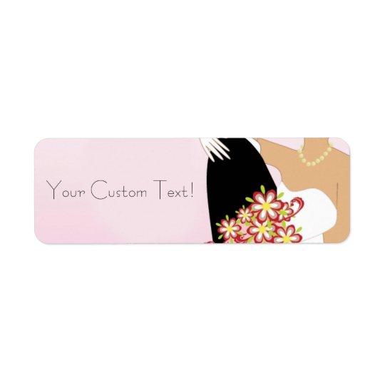 Rosaetikett - bröllop returadress etikett