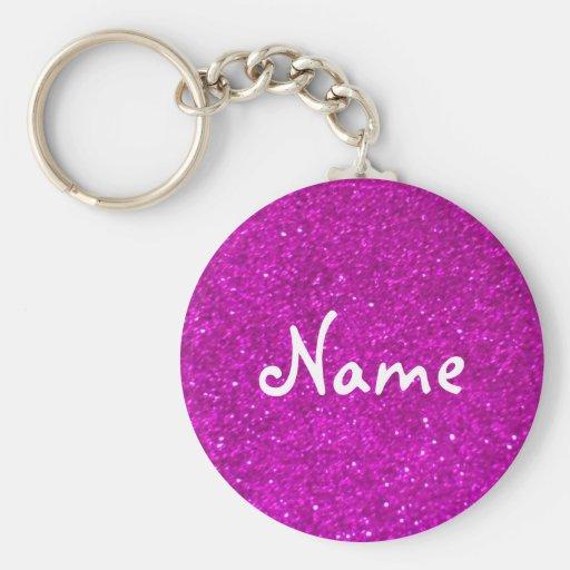 Rosaglitterkeychain med fauxskymter nyckelringar