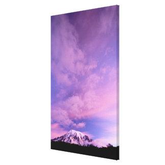 Rosan fördunklar ovanför Mount Rainier Canvastryck