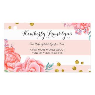 Rosan görar randig guld- konfettivattenfärg för set av standard visitkort