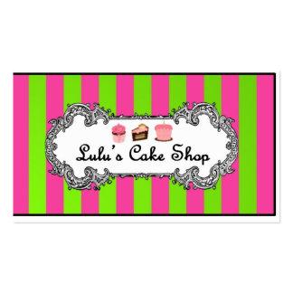 Rosan och grönt görar randig med den gulliga tårta set av standard visitkort