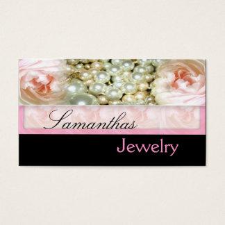 Rosan pryder med pärlor smyckenvisitkortar visitkort