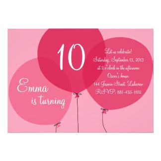 Rosapartyet sväller barns födelsedaginbjudan anpassningsbara inbjudningskort