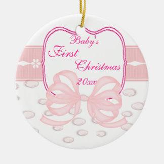 Rosapilbågen och bubblar baby shower julgransprydnad keramik