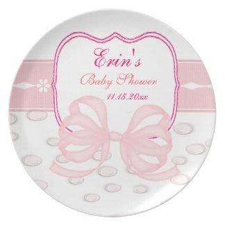 Rosapilbågen och bubblar baby shower tallrik