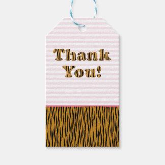 Rosarandar & Tigerprint för tack | roliga Presentetikett