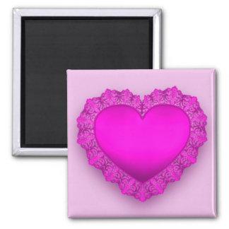 Rosasnörehjärta Magnet