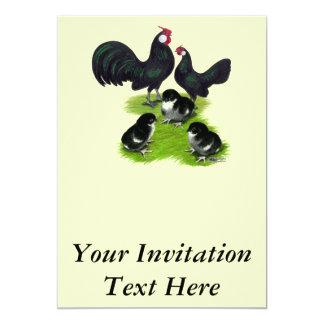 Rosecomb svart Bantamfamilj 12,7 X 17,8 Cm Inbjudningskort