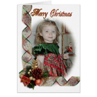 Rosett band för elegant för julfotokort hälsningskort