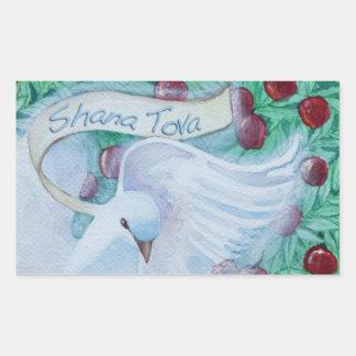Rosh Hashanah Shana Tova duva med Rektangulärt Klistermärke