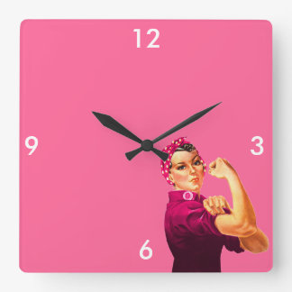 Rosie riveteren - cancerrosa fyrkantig klocka