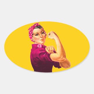 Rosie riveteren - cancerrosa ovalt klistermärke